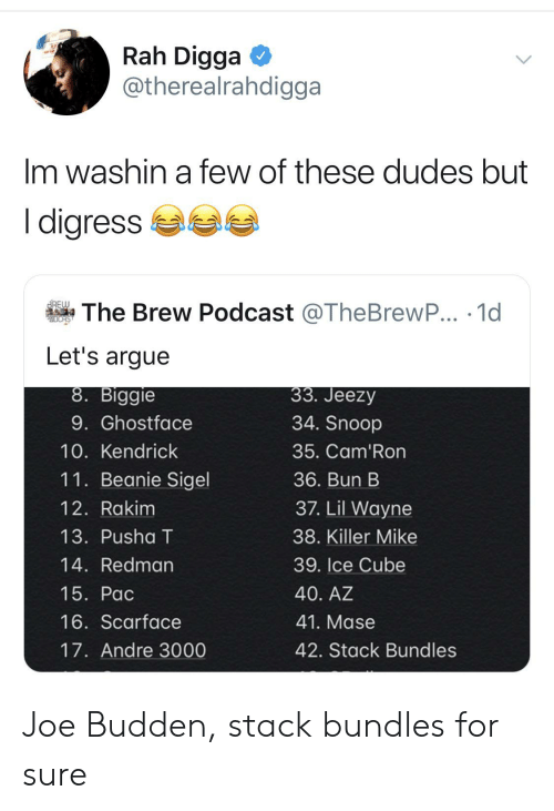 Andre 3000, Arguing, and Blackpeopletwitter: Rah Digga  @therealrahdigga  Im washin a few of these dudes but  I digress  BREW  The Brew Podcast @TheBrewP... 1d  DCAS  Let's argue  33. Jeezy  8. Biggie  34. Snoop  9. Ghostface  10. Kendrick  35. Cam'Ron  11. Beanie Sigel  36. Bun B  37. Lil Wayne  12. Rakim  13. Pusha T  38. Killer Mike  39. Ice Cube  14. Redman  15. Pac  40. AZ  16. Scarface  41. Mase  17. Andre 3000  42. Stack Bundles Joe Budden, stack bundles for sure