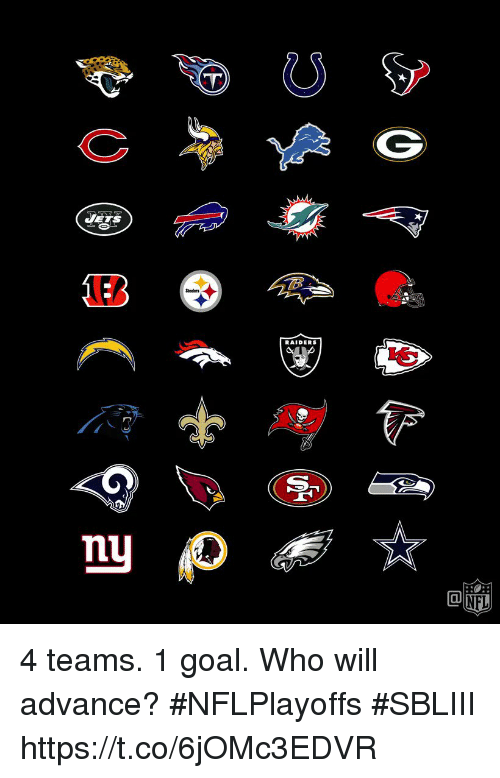 Memes, Goal, and Raiders: RAIDERS 4 teams. 1 goal.  Who will advance? #NFLPlayoffs #SBLIII https://t.co/6jOMc3EDVR