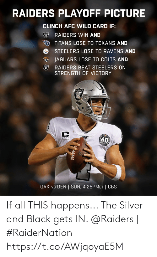 Indianapolis Colts, Memes, and Cbs: RAIDERS PLAYOFF PICTURE  CLINCH AFC WILD CARD IF:  RAIDERS WIN AND  TITANS LOSE TO TEXANS AND  STEELERS LOSE TO RAVENS AND  JAGUARS LOSE TO COLTS AND  RAIDERS BEAT STEELERS ON  STRENGTH OF VICTORY  RAIDERS  RAIDER  60  ****  OAK vs DEN | SUN, 4:25PMET | CBS If all THIS happens... The Silver and Black gets IN.   @Raiders | #RaiderNation https://t.co/AWjqoyaE5M