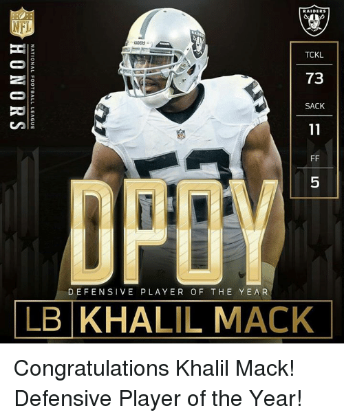 Memes, 🤖, and National Football League: RAIDERS  TCKL  73  SACK  DEFENSIVE PLAYER OF THE YEAR  LB KHALIL MACK  XL-3A-11 FF-5  -11 FF-5  -1  醒0  NATIONAL FOOTBALL LEAGUE  HONORS Congratulations Khalil Mack! Defensive Player of the Year!