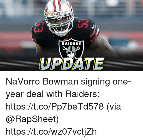 Memes, Raiders, and 🤖: RAIDERS  UPDATE NaVorro Bowman signing one-year deal with Raiders: https://t.co/Pp7beTd578 (via @RapSheet) https://t.co/wz07vctjZh