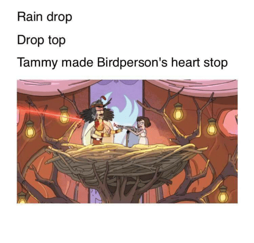 Heart, Rain, and Tammy: Rain drop  Drop top  Tammy made Birdperson's heart stop