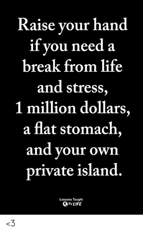 Life, Memes, and Break: Raise vour hand  if you needa  break from life  and stress,  1 million dollars,  a flat stomach,  and your own  private island.  Lessons Taught  By LIFE <3