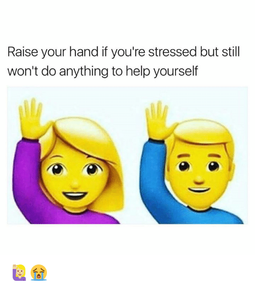 Help, Still, and Youre: Raise your hand if you're stressed but still  won't do anything to help yourself 🙋🏼😭