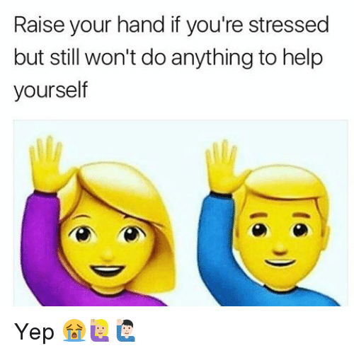 Memes, Help, and 🤖: Raise your hand if you're stressed  but still won't do anything to help  yourself Yep 😭🙋🏼🙋🏻‍♂️