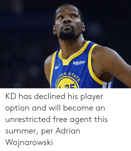 Summer, Free, and Player: Rakuten  STATE  OLDEN KD has declined his player option and will become an unrestricted free agent this summer, per Adrian Wojnarowski