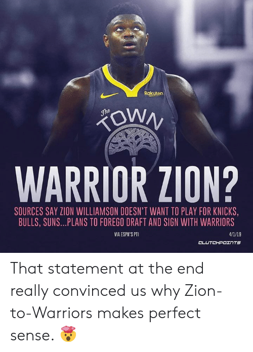 outlet store 1dd46 33157 Rakuten WARRIOR ZION? SOURCES SAY ZION WILLIAMSON DOESN'T ...