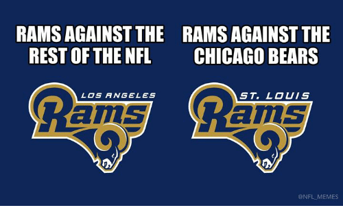 Chicago, Chicago Bears, and Memes: RAMS AGAINST THE  REST OF THE NFL  RAMS AGAINST THE  CHICAGO BEARS  LOS ANGELES  ST. LOUIS  ams  ams  @NFL MEMES