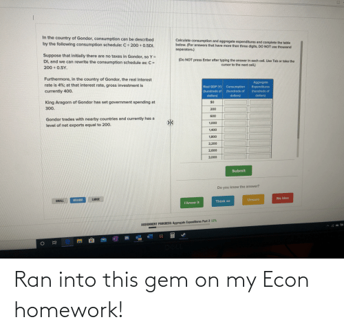 Lord of the Rings, Homework, and Gem: Ran into this gem on my Econ homework!