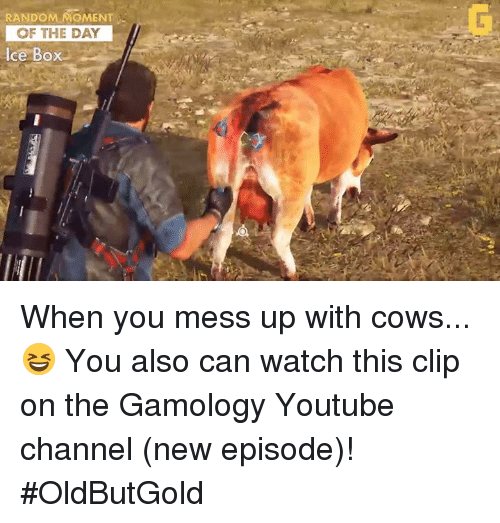 Video Games, Cow, and Youtube Channel: RANDOM MOMENT  OF THE DAY  Ice Box When you mess up with cows... 😆 You also can watch this clip on the Gamology Youtube channel (new episode)! #OldButGold