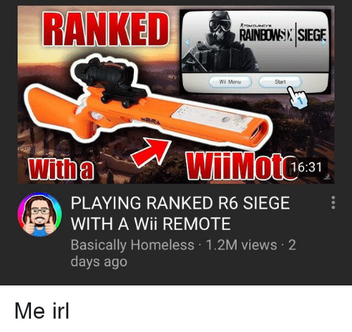 RANKED RAINBONSN SIEGE Wii Menu Start wtWiiMote 1631 PLAYING RANKED