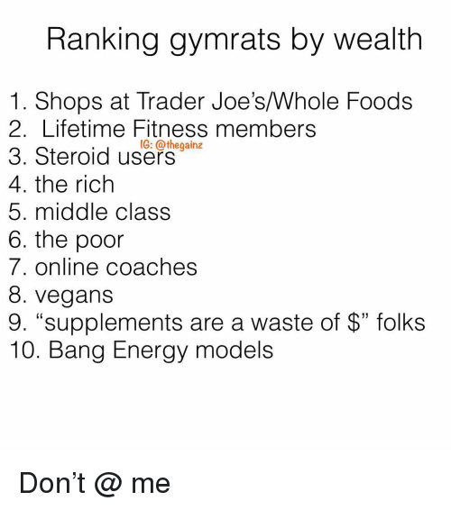 """Energy, Memes, and Whole Foods: Ranking gymrats by wealth  1. Shops at Trader Joe's/Whole Foods  2. Lifetime Fitness members  3. Steroid use-  4. the rich  5. middle class  6. the poor  7. online coaches  8. vegans  9. """"supplements are a waste of $"""" folks  10. Bang Energy models  1G: @thegainz Don't @ me"""