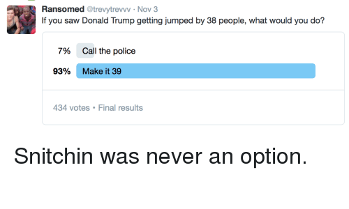 Blackpeopletwitter, Donald Trump, and Funny: Ransomed @trevytrevww Nov 3  If you saw Donald Trump getting jumped by 38 people, what would you do?  796  Call the police  93%  Make it 39  34 votes Final results Snitchin was never an option.