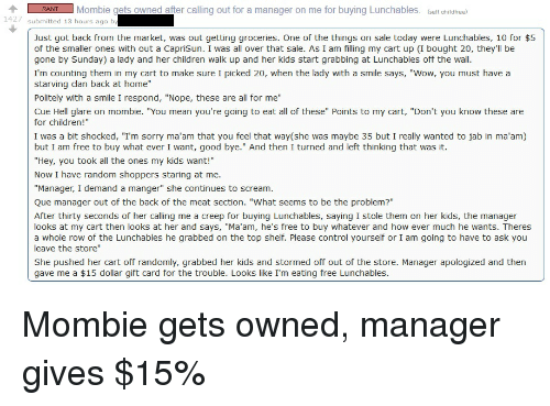 RANT Mombie Gets Owned After Calling Out for a Manager on Me