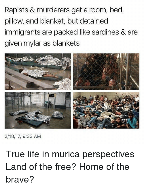 Memes, 🤖, and Mylar: Rapists & murderers get a room, bed,  pillow, and blanket, but detained  immigrants are packed like sardines & are  given mylar as blankets  2/18/17, 9:33 AM True life in murica perspectives Land of the free? Home of the brave?