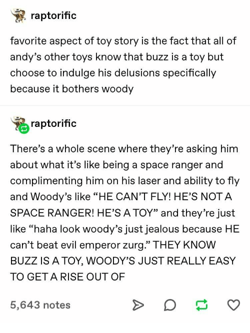 Raptorific Favorite Aspect of Toy Story Is the Fact That All