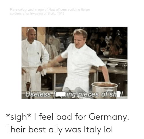 Bad, Lol, and Soldiers: Rare colourized image of Nazi officers scolding Italian  soldiers after Invasion of Sicily, 1943  USeless i  ingpieces of sh *sigh* I feel bad for Germany. Their best ally was Italy lol