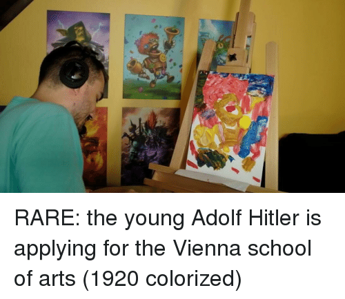 School, Hitler, and Adolf Hitler: RARE: the young Adolf Hitler is applying for the Vienna school of arts (1920 colorized)
