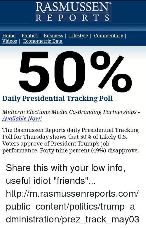 """Friends, Memes, and Politics: RASMUSSEN  R EP O R T S  Home 