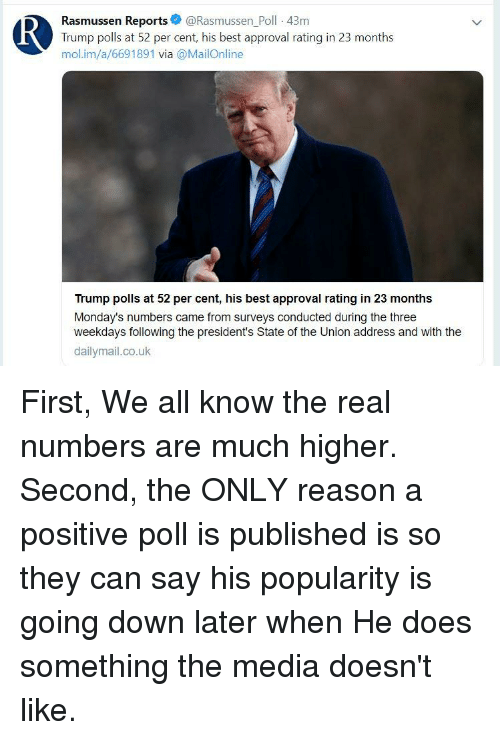 Mondays, State of the Union Address, and Best: Rasmussen Reports@Rasmussen_Poll -43m  Trump polls at 52 per cent, his best approval rating in 23 months  mol.im/a/6691891 via @MailOnline  Trump polls at 52 per cent, his best approval rating in 23 months  Monday's numbers came from surveys conducted during the three  weekdays following the president's State of the Union address and with the  dailymail.co.uk