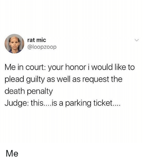 Memes, Death, and 🤖: rat mic  @loopzoop  Me in court: your honor i would like to  plead guilty as well as request the  death penalty  Judge: this....is a parking ticket... Me