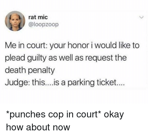 Dank, Death, and Okay: rat mic  @loopzoop  Me in court: your honor i would like to  plead guilty as well as request the  death penalty  Judge: thi... is a parking ticket... *punches cop in court* okay how about now