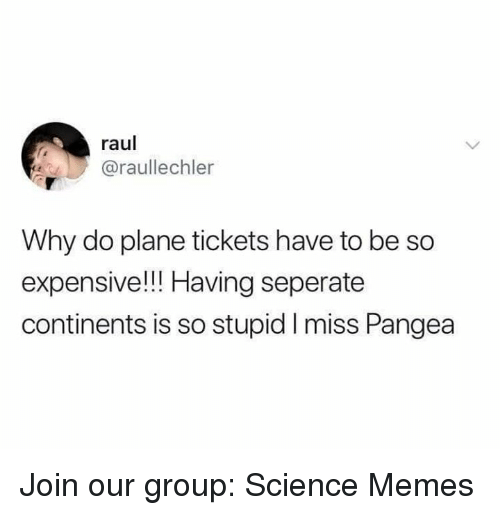 Memes, Plane Tickets, and Science: raul  @raullechler  Why do plane tickets have to be so  expensive!!! Having seperate  continents is so stupid I miss Pangea Join our group: Science Memes