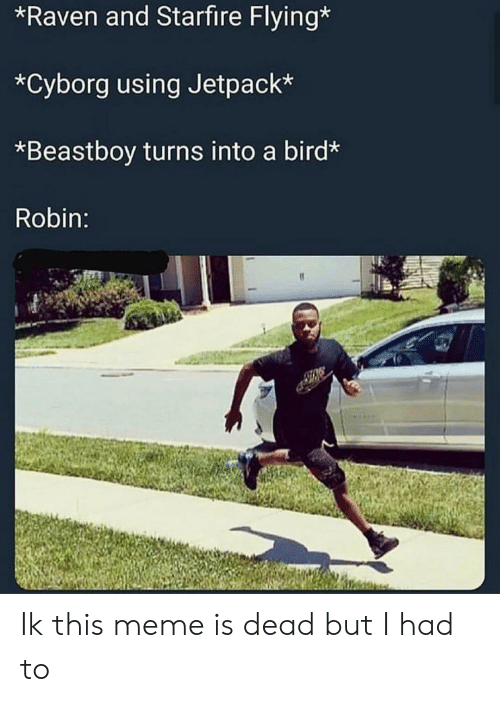 Meme, Raven, and Dank Memes: *Raven and Starfire Flying*  *Cyborg using Jetpack*  *Beastboy turns into a bird*  Robin: Ik this meme is dead but I had to