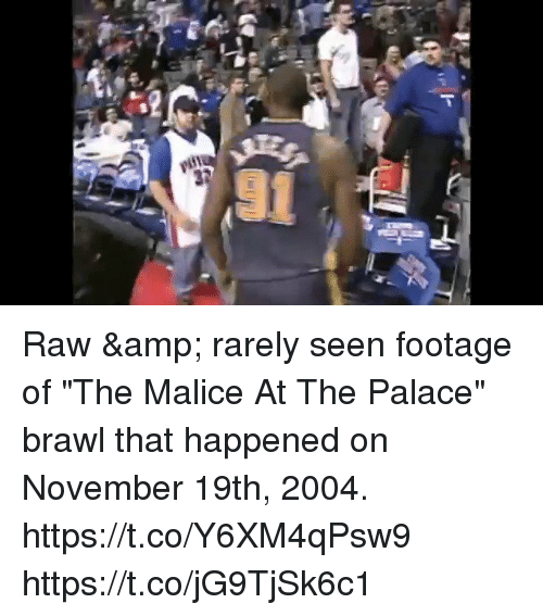 """Memes, Malice, and 🤖: Raw & rarely seen footage of """"The Malice At The Palace"""" brawl that happened on November 19th, 2004. https://t.co/Y6XM4qPsw9 https://t.co/jG9TjSk6c1"""