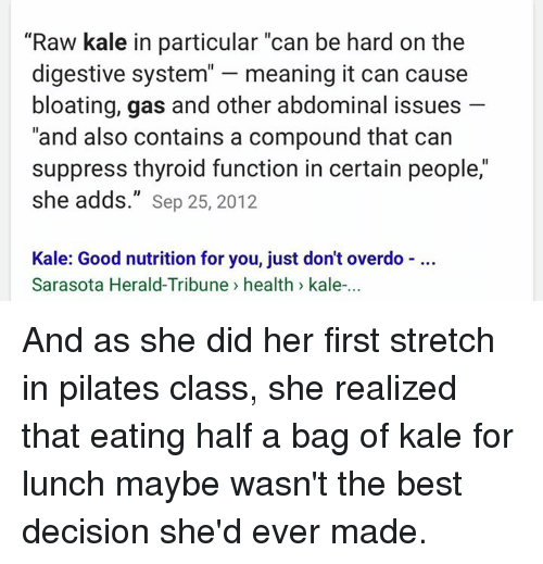 Raw kale and thyroid function