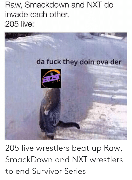 Wrestling, Survivor, and Live: Raw, Smackdown and NXT do  invade each other.  205 live:  da fuck they doin ova der 205 live wrestlers beat up Raw, SmackDown and NXT wrestlers to end Survivor Series