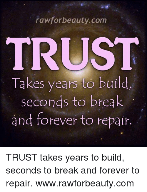 Rawforbeautycom Trust Takes Years To Build Seconds To Break And