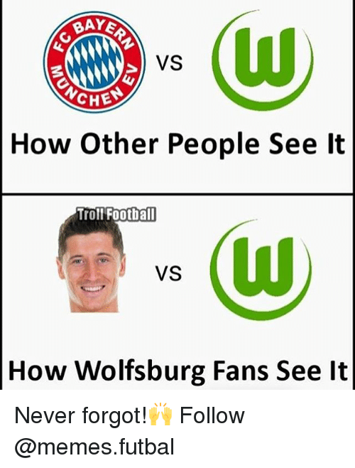 Memes, Troll, and Trolling: RAYE  CHES  How Other People See It  Troll Football  VS  How Wolfsburg Fans See lt Never forgot!🙌 Follow @memes.futbal