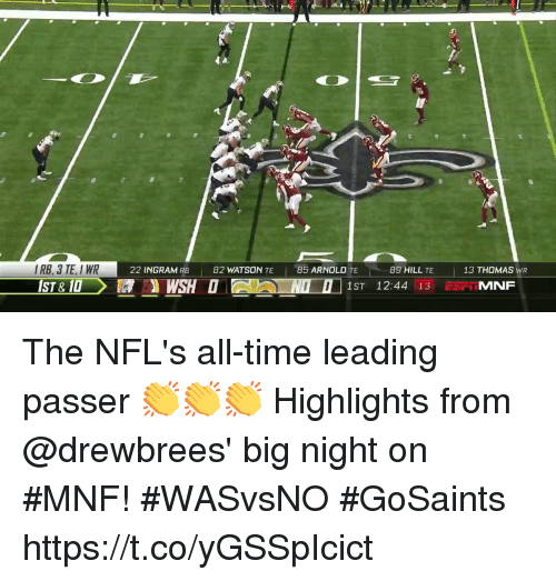 Memes, Time, and 🤖: RB, 3 TE, IWR  22 INGRAM RB  82 WATSON TE 85 ARNOLD TE  89 HILL TE  13 THOMAS WR The NFL's all-time leading passer 👏👏👏  Highlights from @drewbrees' big night on #MNF! #WASvsNO #GoSaints https://t.co/yGSSpIcict