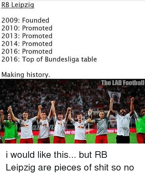 RB Leipzig 2009 Founded 2010 Promoted 2013 Promoted 2014