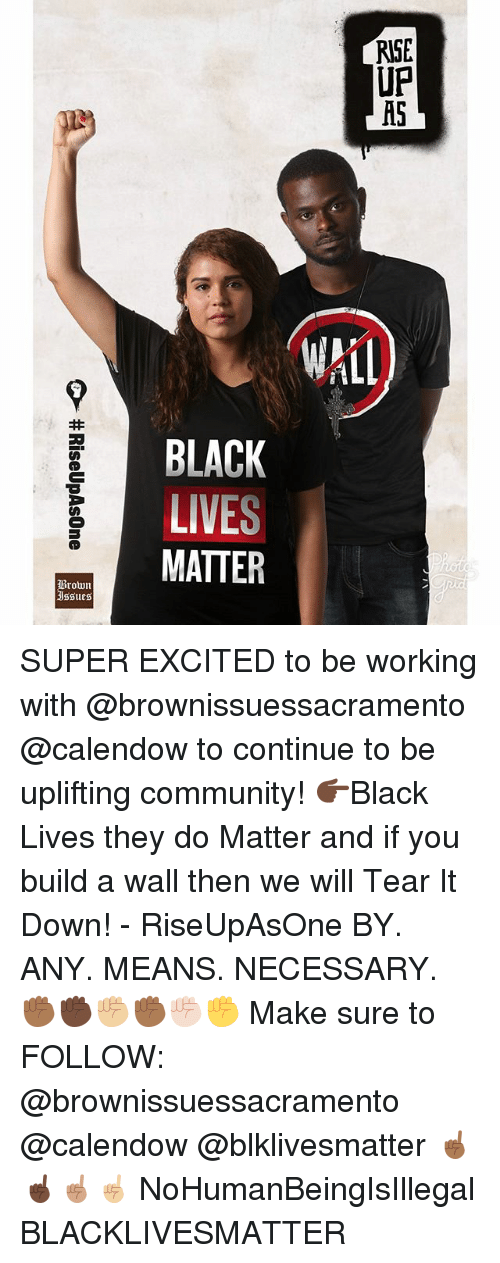 Black Lives Matter, Community, and Memes: RBI PA  CE  ?, SUPER EXCITED to be working with @brownissuessacramento @calendow to continue to be uplifting community! 👉🏿Black Lives they do Matter and if you build a wall then we will Tear It Down! - RiseUpAsOne BY. ANY. MEANS. NECESSARY. ✊🏾✊🏿✊🏼✊🏾✊🏻✊ Make sure to FOLLOW: @brownissuessacramento @calendow @blklivesmatter ☝🏾☝🏿☝🏽☝🏼 NoHumanBeingIsIllegal BLACKLIVESMATTER