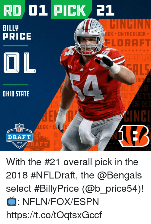 Clock, Espn, and Memes: RD 01 PICK 21  BILL  PRICE  10  CKON THE CLOCK  FLORAFT  2018  CL  OHIO STATE  LD  CL  NFL  NFL  NP  DRAFT  2018  RAFT  2018 With the #21 overall pick in the 2018 #NFLDraft, the @Bengals select #BillyPrice (@b_price54)!  📺: NFLN/FOX/ESPN https://t.co/tOqtsxGccf