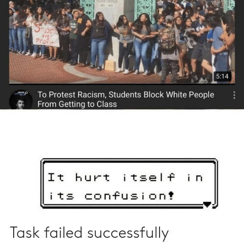 Protest, Racism, and Reddit: RDER SAT  e-  SUcens  aver  Profit  5:14  To Protest Racism, Students Block White People  From Getting to Class  Derid  |It hurt itself in  its confusion! Task failed successfully
