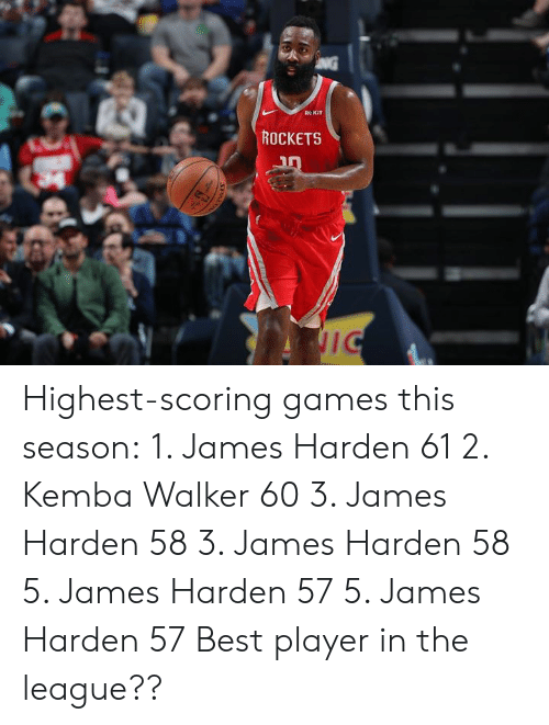James Harden, Best, and Games: Re KIT  ROCKETS Highest-scoring games this season:  1. James Harden 61 2. Kemba Walker 60 3. James Harden 58 3. James Harden 58 5. James Harden 57 5. James Harden 57  Best player in the league??