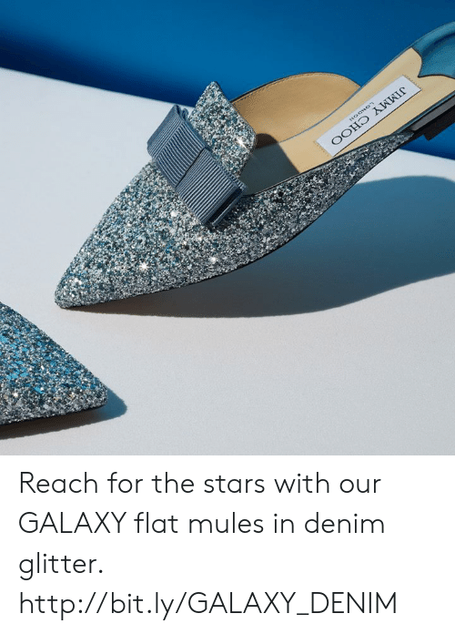 Memes, Http, and Stars: Reach for the stars with our GALAXY flat mules in denim glitter. http://bit.ly/GALAXY_DENIM