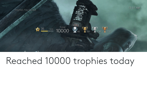 Today, Trophies, and Reached: Reached 10000 trophies today