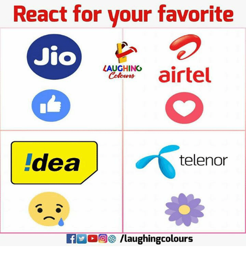 Indianpeoplefacebook, Telenor, and For: React for vour favorite  Jio  ACNirtel  LAUGHING  deale  telenor  KIMO /laughingcolours