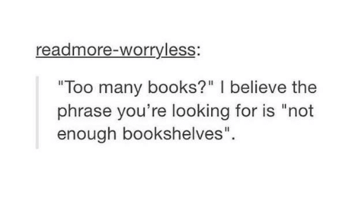 Readmore-Worryless Too Many Books? I Believe the Phrase You