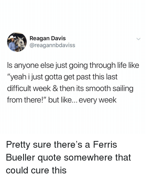 """Life, Smooth, and Yeah: Reagan Davis  @reagannbdaviss  Is anyone else just going through life like  """"yeah i just gotta get past this last  difficult week & then its smooth sailing  from there!"""" but like... every week Pretty sure there's a Ferris Bueller quote somewhere that could cure this"""