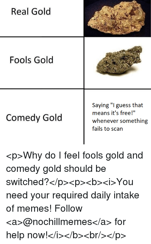 "Memes, Free, and Guess: Real Gold  Fools Gold  Saying ""I guess that  means it's free!""  whenever somethirng  fails to scan  Comedy Gold <p>Why do I feel fools gold and comedy gold should be switched?</p><p><b><i>You need your required daily intake of memes! Follow <a>@nochillmemes</a>​ for help now!</i></b><br/></p>"