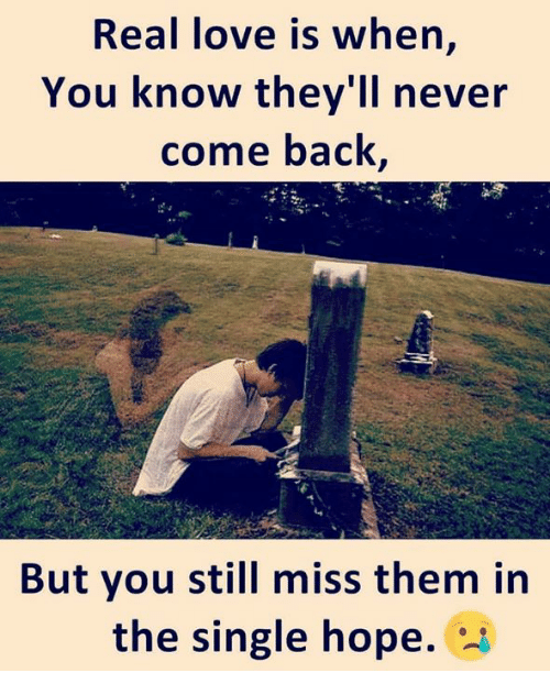 Love, Memes, and Hope: Real love is when,  You know they'll never  come back  But you still miss them in  the single hope. *-