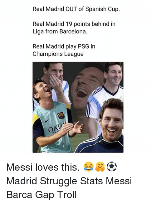 Barcelona, Memes, and Real Madrid: Real Madrid OUT of Spanish Cup.  Real Madrid 19 points behind in  Liga from Barcelona.  Real Madrid play PSG in  Champions League Messi loves this. 😂🤗⚽️ Madrid Struggle Stats Messi Barca Gap Troll