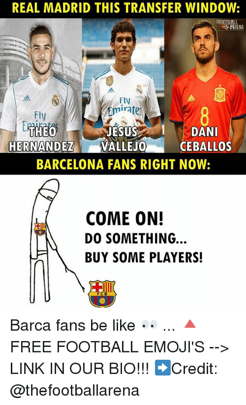 Barcelona, Be Like, and Football: REAL MADRID THIS TRANSFER WINDOW:  Fly  Emirate  Fly  DANI  CEBALLOS  HERNANDEZVALLEJO  BARCELONA FANS RIGHT NOW:  COME ON!  DO SOMETHING  BUY SOME PLAYERS!  C B Barca fans be like 👀 ... 🔺FREE FOOTBALL EMOJI'S --> LINK IN OUR BIO!!! ➡️Credit: @thefootballarena