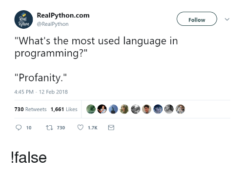 Real Pythoncom Follow Rthon What's the Most Used Language in