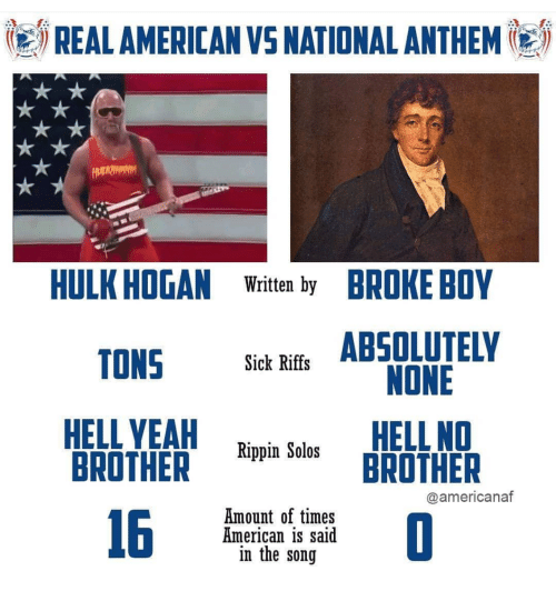 Hulk Hogan, National Anthem, and Hulk: REALAMERICAN VS NATIONAL ANTHEM  HULK HOGAN Wri by BROKE BOY  OS ABSDLUTELY  Sick Riffs  鼎YEA Rippin Solos BROTHER  NONE  HELL NO  BROTHER  @americanaf  16  Amount of times  American is said  in the song